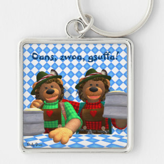 Dinky Bears Bavarian Oktoberfest Bears Silver-Colored Square Keychain