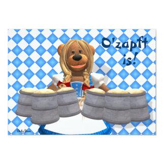 Dinky Bears Bavarian Oktoberfest Zenzi 5x7 Paper Invitation Card