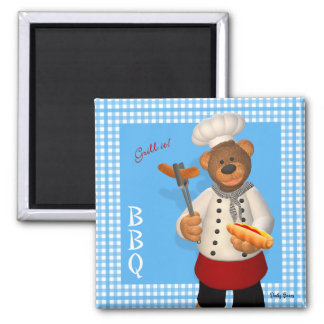 Dinky Bears BBQ Chef 2 Inch Square Magnet
