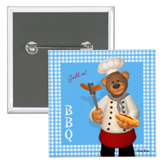 Dinky Bears BBQ Chef Button
