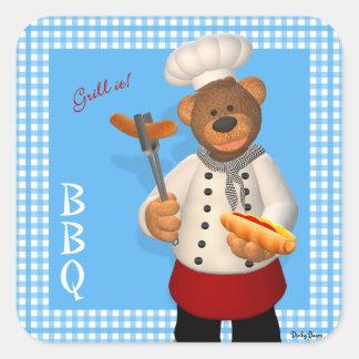 Dinky Bears BBQ Chef Square Sticker