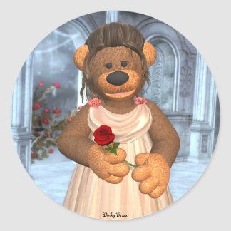 Dinky Bears Beauty with Rose Classic Round Sticker