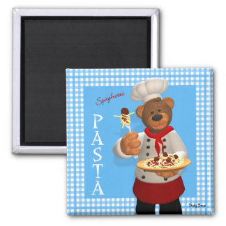 Dinky Bears Chef: Pasta 2 Inch Square Magnet