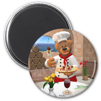 Dinky Bears Chef: Spaghetti with Meatballs 2 Inch Round Magnet