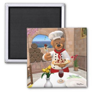 Dinky Bears Chef: Spaghetti with Meatballs 2 Inch Square Magnet