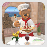 Dinky Bears Chef: Spaghetti with Meatballs Square Stickers