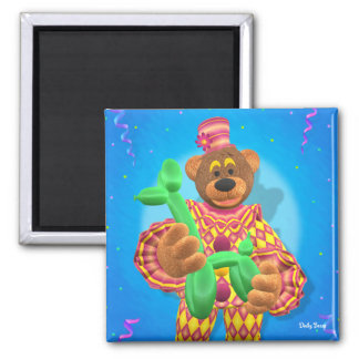 Dinky Bears Clown Modelling Balloon Animals 2 Inch Square Magnet
