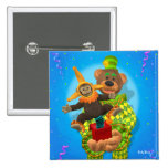 Dinky Bears Clown & Mr. Zippy in the Box 2 Inch Square Button
