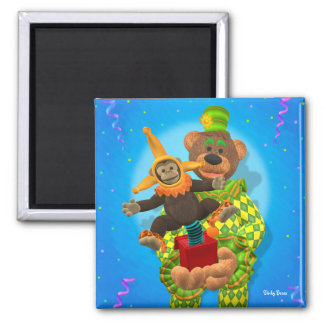 Dinky Bears Clown & Mr. Zippy in the Box 2 Inch Square Magnet