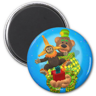Dinky Bears Clown & Mr. Zippy in the Box 2 Inch Round Magnet