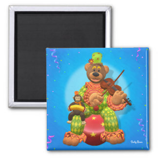 Dinky Bears Clown & Mr. Zippy 2 Inch Square Magnet