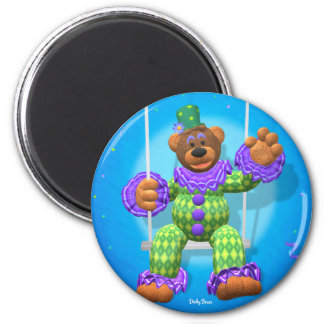 Dinky Bears Clown on Trapeze 2 Inch Round Magnet