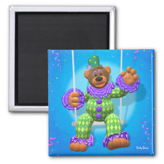 Dinky Bears Clown on Trapeze 2 Inch Square Magnet
