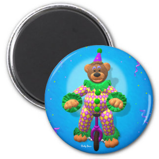 Dinky Bears Clown on Unicycle 2 Inch Round Magnet