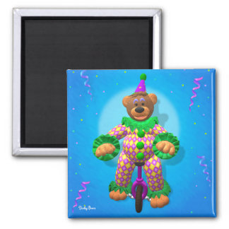 Dinky Bears Clown on Unicycle 2 Inch Square Magnet