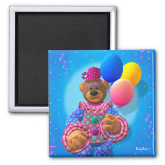 Dinky Bears Clown with Balloons 2 Inch Square Magnet