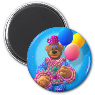 Dinky Bears Clown with Balloons 2 Inch Round Magnet