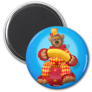 Dinky Bears Clown with Bandoneon 2 Inch Round Magnet