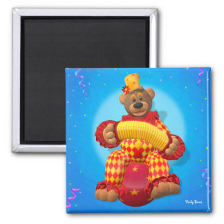 Dinky Bears Clown with Bandoneon 2 Inch Square Magnet