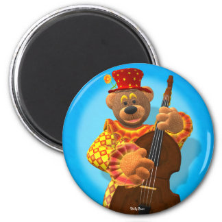 Dinky Bears Clown with Bass 2 Inch Round Magnet