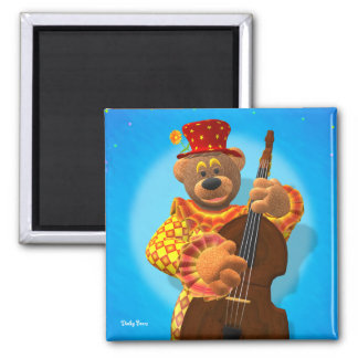 Dinky Bears Clown with Bass 2 Inch Square Magnet