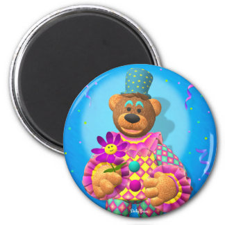 Dinky Bears Clown with Flower 2 Inch Round Magnet