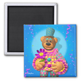 Dinky Bears Clown with Flower 2 Inch Square Magnet