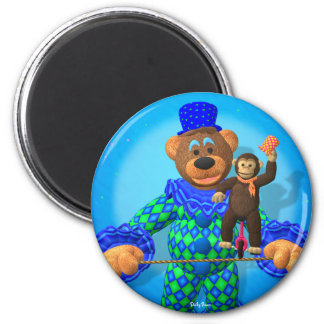 Dinky Bears Clown with his little friend 2 Inch Round Magnet