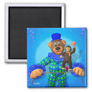 Dinky Bears Clown with his little friend 2 Inch Square Magnet