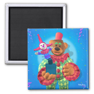 Dinky Bears Clown with Jack in the Box 2 Inch Square Magnet