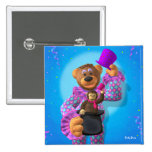 Dinky Bears Clown with Monkey 2 Inch Square Button