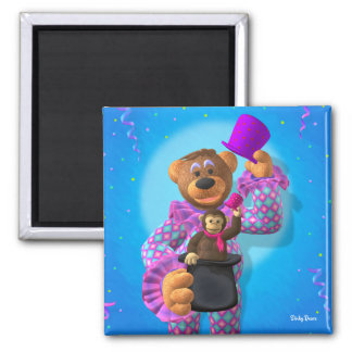 Dinky Bears Clown with Monkey 2 Inch Square Magnet