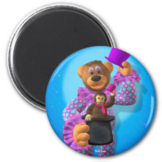 Dinky Bears Clown with Monkey 2 Inch Round Magnet