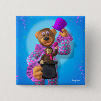 Dinky Bears Clown with Monkey Pinback Button