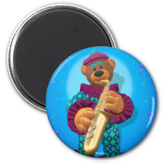 Dinky Bears Clown with Saxophone 2 Inch Round Magnet