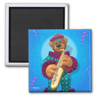 Dinky Bears Clown with Saxophone 2 Inch Square Magnet