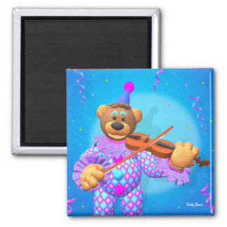 Dinky Bears Clown with Violin 2 Inch Square Magnet