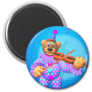 Dinky Bears Clown with Violin 2 Inch Round Magnet