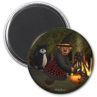 Dinky Bears Flying Witch 2 Inch Round Magnet