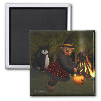 Dinky Bears Flying Witch 2 Inch Square Magnet