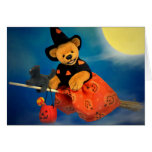 Dinky Bears Flying Witch Greeting Card