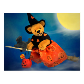 Dinky Bears Flying Witch Postcard