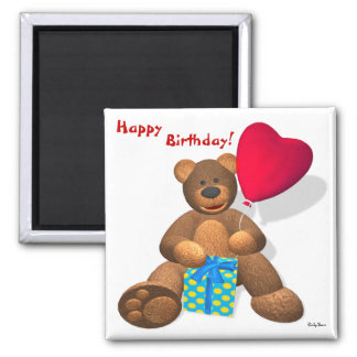 Dinky Bears: Happy Birthday! 2 Inch Square Magnet