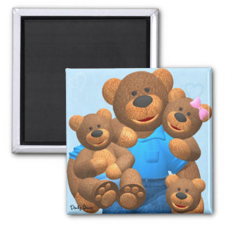 Dinky Bears: Happy Family 2 Inch Square Magnet