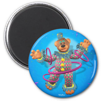 Dinky Bears hula hooping Clown 2 Inch Round Magnet
