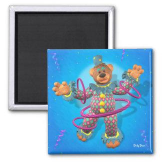 Dinky Bears hula hooping Clown 2 Inch Square Magnet