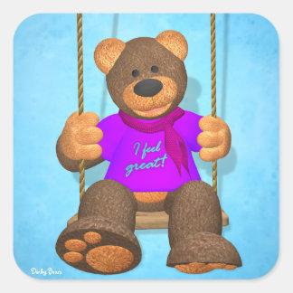 Dinky Bears: I feel great! Square Sticker