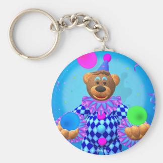 Dinky Bears juggling clown Basic Round Button Keychain