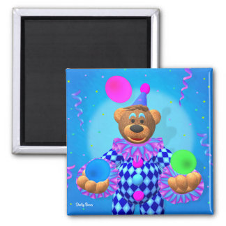 Dinky Bears juggling clown 2 Inch Square Magnet