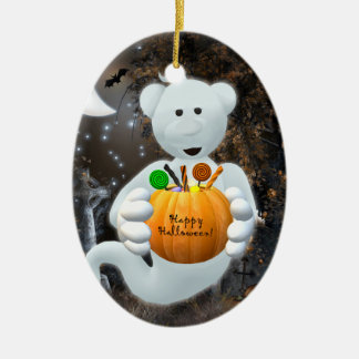 Dinky Bears Little Ghost with Goodies Ceramic Ornament